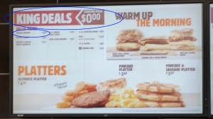 Burger King menu board